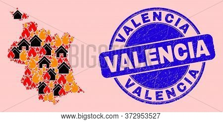 Fire And Houses Mosaic Valencia Province Map And Valencia Dirty Stamp Print. Vector Mosaic Valencia