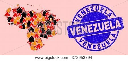 Fire Disaster And Homes Mosaic Venezuela Map And Venezuela Unclean Stamp. Vector Mosaic Venezuela Ma