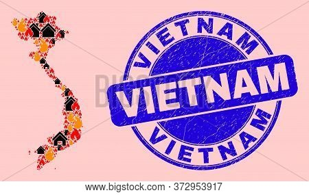 Fire And Buildings Mosaic Vietnam Map And Vietnam Textured Stamp Seal. Vector Collage Vietnam Map Is