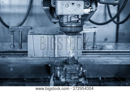 The Operation Of  Wire-edm Machine Cutting The Die Insert Parts. The Hi-technology Of Mild And Die M