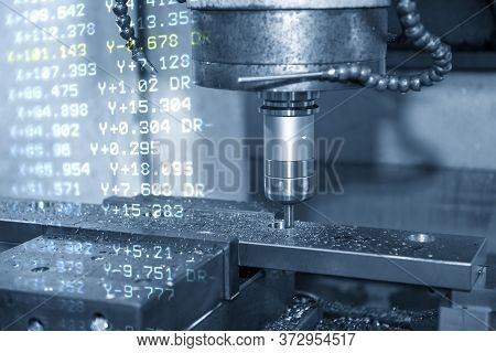 The Abstract Scene Of Cnc Milling Machine And The G-code Data Background. The Mold And Die Manufactu