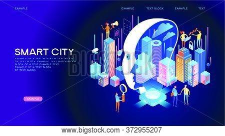 Smart City Or Intelligent Building Isometric Vector Concept. Smart Home Control Concept. Concept Hom