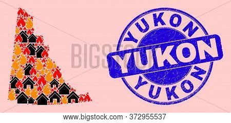 Fire Disaster And Homes Collage Yukon Province Map And Yukon Dirty Seal. Vector Collage Yukon Provin