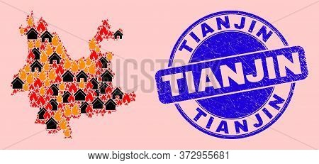 Flame And Buildings Collage Yunnan Province Map And Tianjin Unclean Stamp Imitation. Vector Mosaic Y