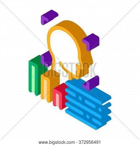 Human Profile Information Icon Vector. Isometric Human Profile Information Sign. Color Isolated Symb