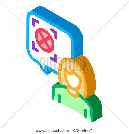 Woman Refusal Mark Icon Vector. Isometric Woman Refusal Mark Sign. Color Isolated Symbol Illustratio