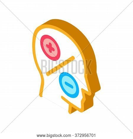 Human Head Plus Minus Icon Vector. Isometric Human Head Plus Minus Sign. Color Isolated Symbol Illus