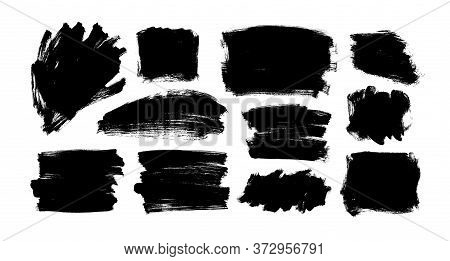 Vector Black Paint, Ink Brush Strokes And Shapes. Dirty Grunge Design Element, Rectangles Or Backgro