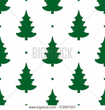 Seamless Vector. Fir-tree Background. Christmas Tree Motif. New Year Wallpaper. Pines Pattern. Holid