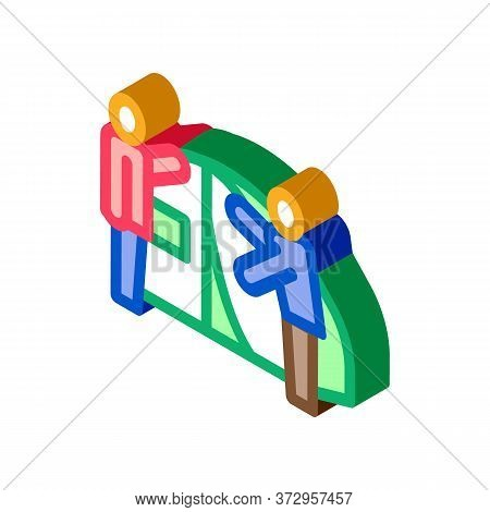 Human Construct Tent Icon Vector. Isometric Human Construct Tent Sign. Color Isolated Symbol Illustr