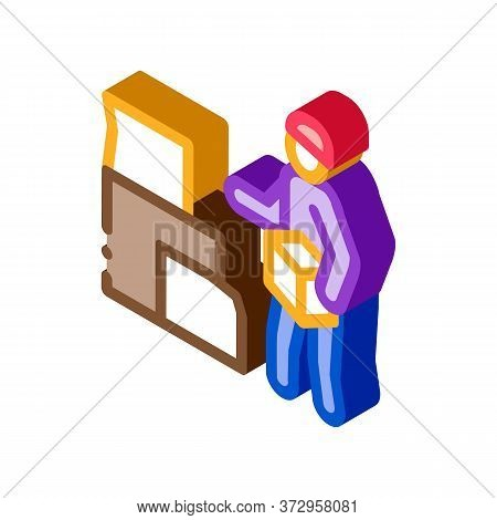 Homeless With Cardboard Boxes Icon Vector. Isometric Homeless With Cardboard Boxes Sign. Color Isola