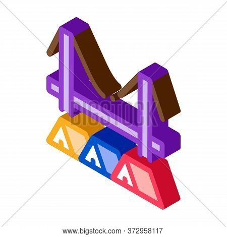 Homeless Tents Under Bridge Icon Vector. Isometric Homeless Tents Under Bridge Sign. Color Isolated