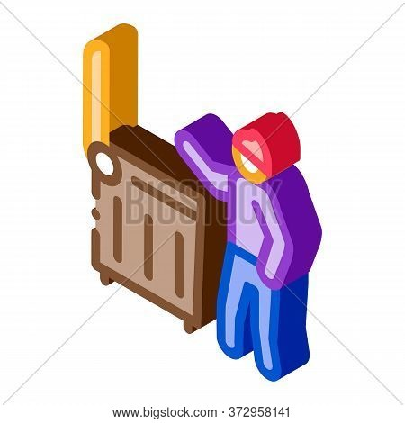 Homeless Looking Food In Trash Can Icon Vector. Isometric Homeless Looking Food In Trash Can Sign. C
