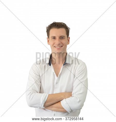 Portrait Of Smiling Business Blonde, White Man, Caucasian People Standing Isolated On White Backgrou