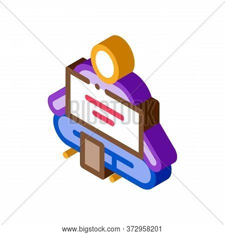 Homeless Sitting With Nameplate Help Icon Vector. Isometric Homeless Sitting With Nameplate Help Sig