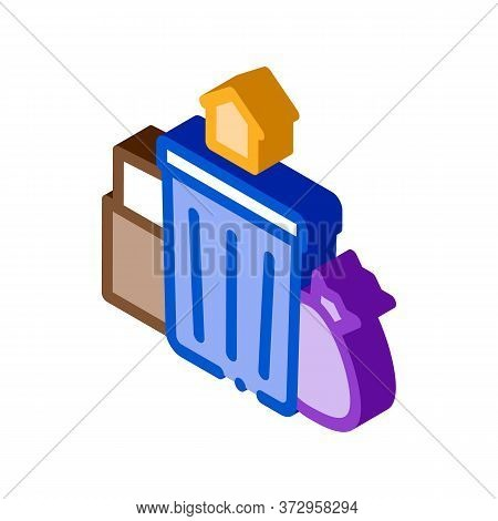 Trash Can Home Icon Vector. Isometric Trash Can Home Sign. Color Isolated Symbol Illustration