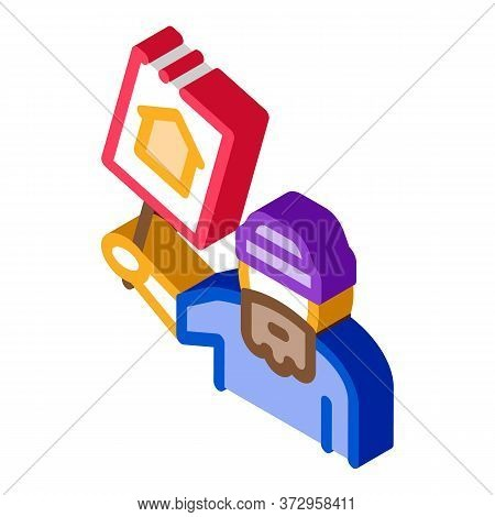 Homeless With Nameplate House Icon Vector. Isometric Homeless With Nameplate House Sign. Color Isola