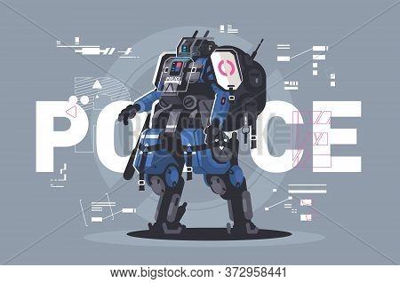 Police Drone Robot. Patrol Cop With Artificial