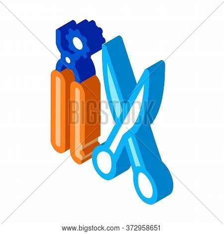 Leather Craft Scissors And Punch Tool Icon Vector. Isometric Leather Craft Scissors And Punch Tool S