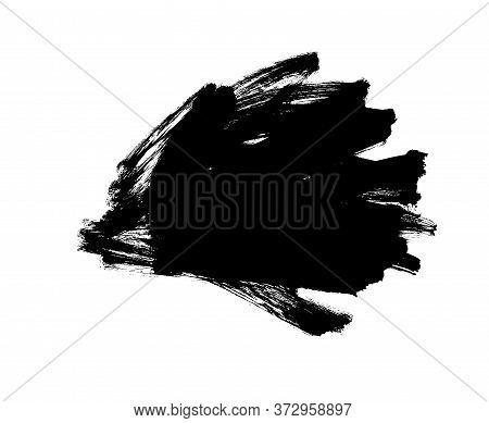 Vector Black Paint, Ink Brush Stroke, Messy Shape. Dirty Grunge Design Element, Background For Text.