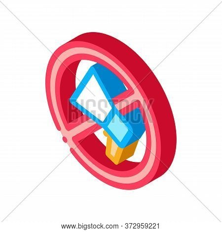 Loudspeaker Crossed Out Sign Icon Vector. Isometric Loudspeaker Crossed Out Sign Sign. Color Isolate