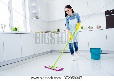 Full Length Body Size View Of Her She Nice Attractive Professional Cheery Focused Housemaid Wiping N