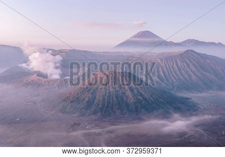 Spectacular View Of Mount Bromo In The Early Morning. This Is An Active Volcano Part Of The Tengger