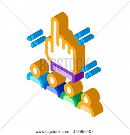 Finger Up Gesture And Audience Icon Vector. Isometric Finger Up Gesture And Audience Sign. Color Iso