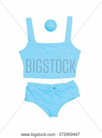 Tennis Style. Fashionable Tennis Clothes, Tennis Shorts, Tennis Tank Top, Tennis Ball Blue Color