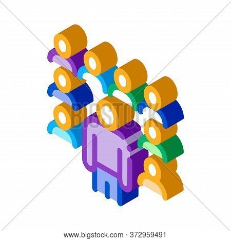 Speaker Standing Before Audience Icon Vector. Isometric Speaker Standing Before Audience Sign. Color