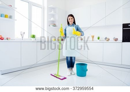 Full Length Body Size View Of Her She Nice Attractive Lovely Cheerful Cheery Housemaid Domestic Work