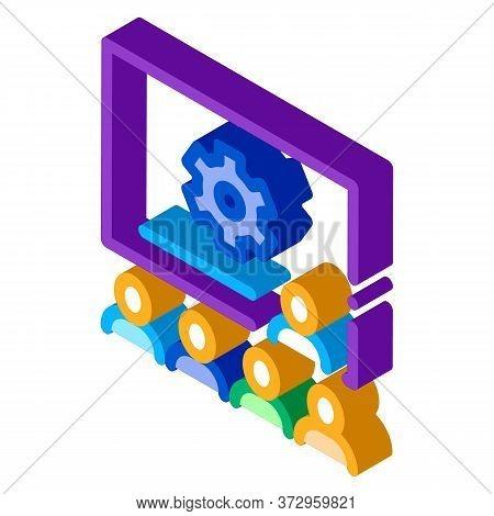 Presentation Blackboard Icon Vector. Isometric Presentation Blackboard Sign. Color Isolated Symbol I