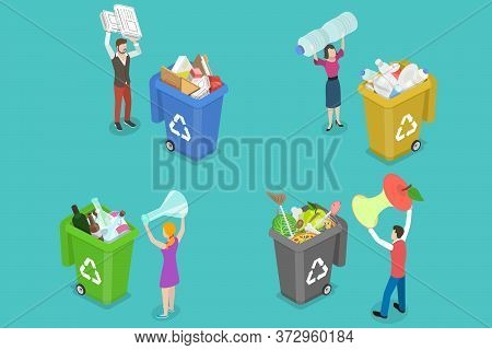 3d Isometric Flat Vector Concept Of Colored Waste Bins With Sorted Trash.