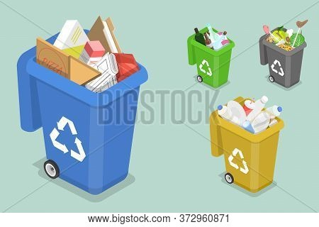 3d Isometric Flat Vector Concept Of Sorting Waste For Recycling.