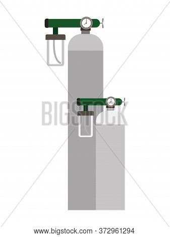 Oxygen Cylinders Design, Emergency Rescue Save Department 911 Danger Help Safety And Aid Theme Vecto