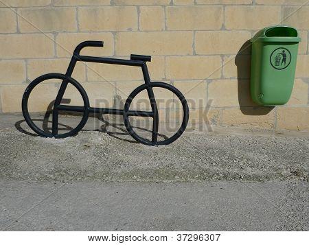 iron bike and bin