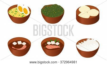 Japanese Food Set Isolated On White Background. Icons Of Asian Soups In Brown Plates Vector Illustra
