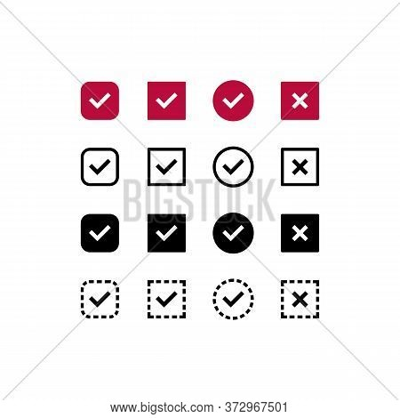Checkbox, Tick Check Mark Icon Set. Confirm Symbol. Vector On Isolated White Background. Eps 10.
