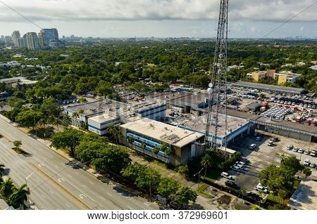 Fort Lauderdale, Fl, Usa - June 25, 2020: Aerial Photo Fort Lauderdale Police Department On Broward