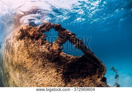 Wreckship At Sand Bottom Underwater In Blue Ocean Near Arrecife, Lanzarote Island