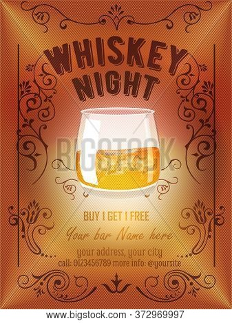 Whiskey Night Party Flyer, Banner Or Template Design With Tribal Floral Frame, Whiskey Glass On Mesh