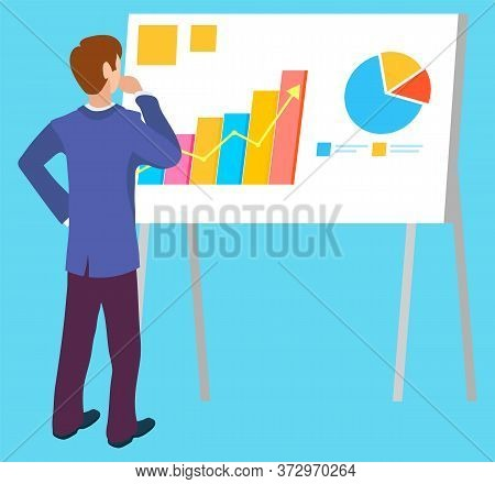 Business Presentation On Board Vector, Isolated Character Thinking On New Concept. Achievements Of P