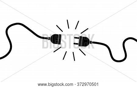 Electric Plug, Socket Unplugged. 404 Error, Loss Of Connect. Vector On Isolated White Background. Ep