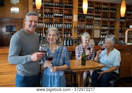 Happy senior friends having red wine in restaurant