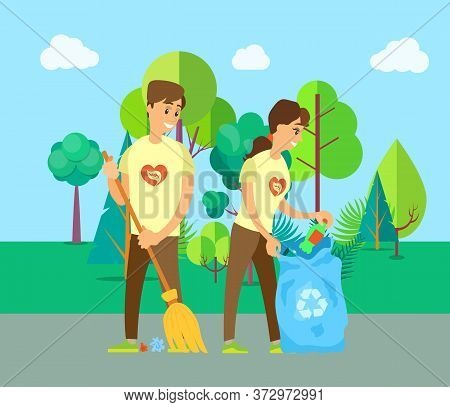 Man And Woman Volunteers Sweeping Road, Cleaning Trash And Bottle, People Holding Broom And Bag With