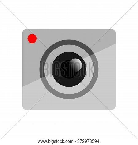 Camera Icon With A Square Shape With Light Gray Combined With A White Background.