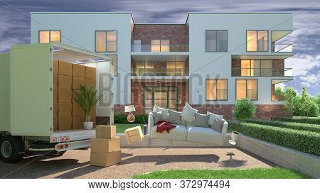 Floating sofa in front of moving company truck when moving in front of apartment building (3D Rendering)