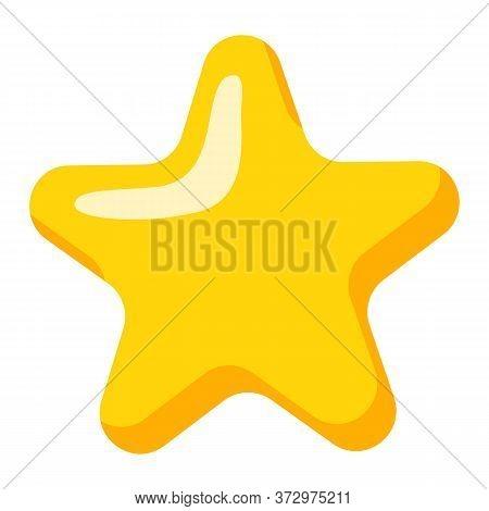 Golden Star Shaped Festive Decoration Isolated On White. Yellow Shiny Helium Balloon, Photozone Acce