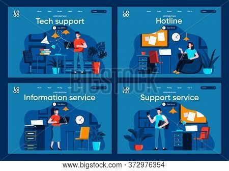 It Support Flat Landing Pages Set. Helpline Consultant With Headset Work With Computer In Office Sce
