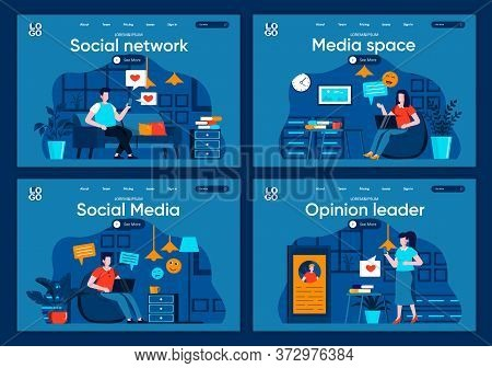 Social Media Flat Landing Pages Set. Online Communication And Messaging With Digital Devices Scenes